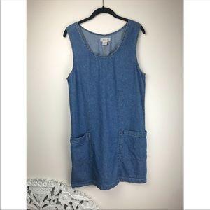 Vintage Cherokee cotton denim smock style dress